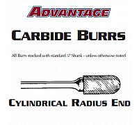 "Carbide Burr - Cylindrical Radium End Aluminum Cut SC-1 - 1/4"" x 5/8"""
