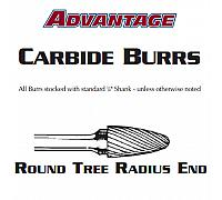 "Carbide Burr - Round Tree Radium End Aluminum Cut SF-1 - 1/4"" x 5/8"""